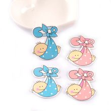 20 pçs bebê pintado azul/rosa diy fatias de madeira artesanato para scrapbooking decoração para casa nenhum furo ornamentos de madeira 47x25mm m1074