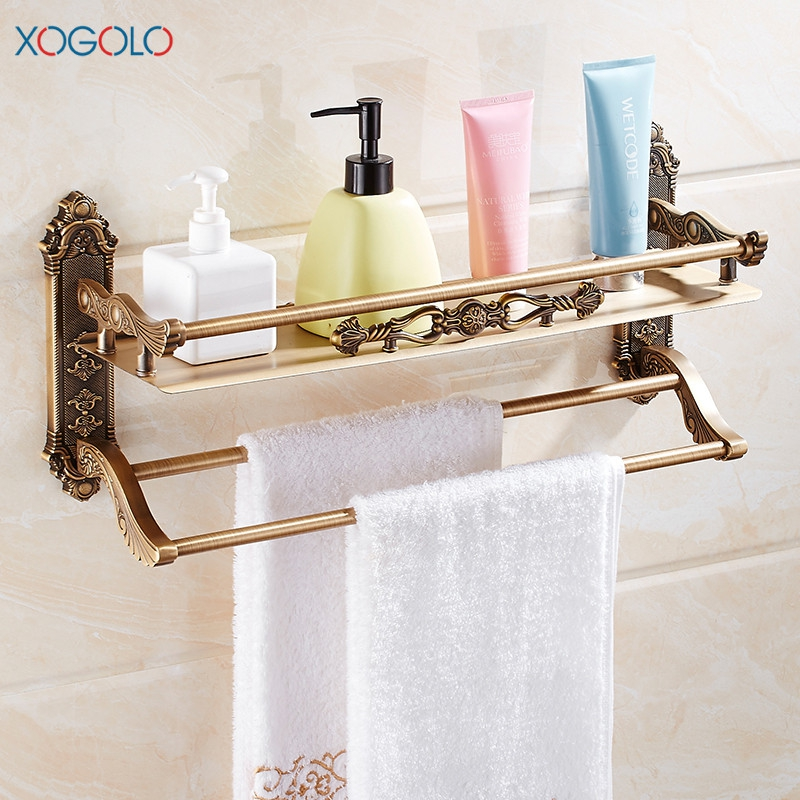Xogolo Space Aluminum Antique Carving Wall Mounted Bathroom Shelf With Towel Bar Cup Holders Bath Accessories free shipping wall mounted space aluminum black golden paper towel shelf phone toilet paper holder