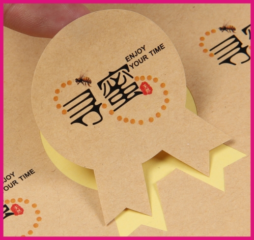 Vintage stickers writing writable labels custom size adhesive kraft