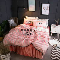 Warm Sunny Magic Velvet Towel Embroidery Duvet Cover Bed Skirt Pillowcase Four piece Home Bedding Set for Winter Queen King #264