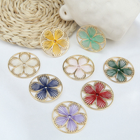 Newest 20pcs/Lot 37MM Handmade Woven Crochet Floral Round Charms Stickers Ornament Accessories Fashion Earring Necklace Pendants