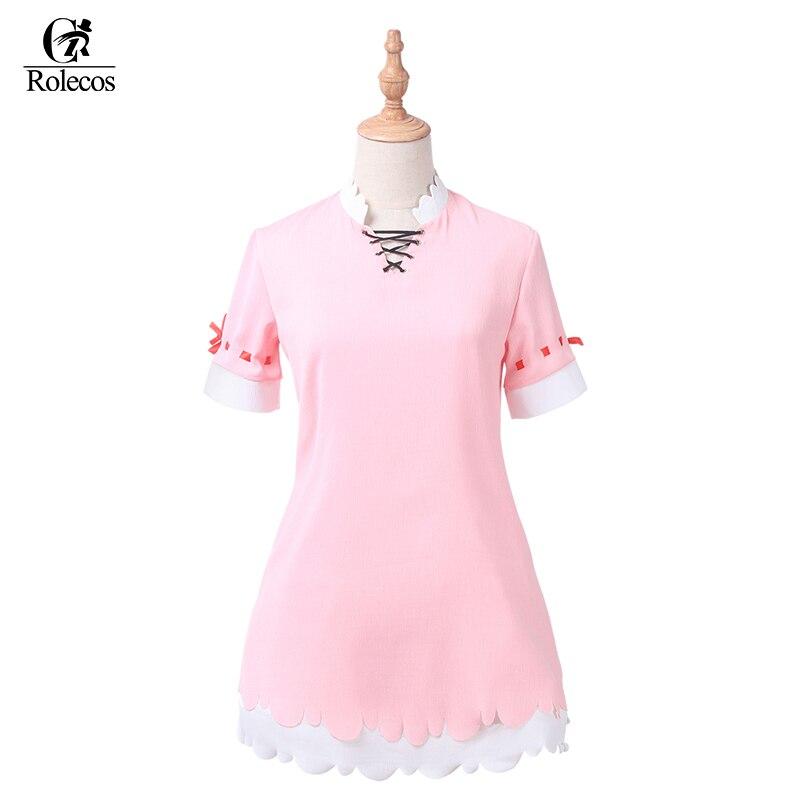 Rolecos Kobayashi-san Chi no Maid Dragon Cosplay Costume Anime Character Kamui Kanna Cosplay Pink Halloween Costume for Women