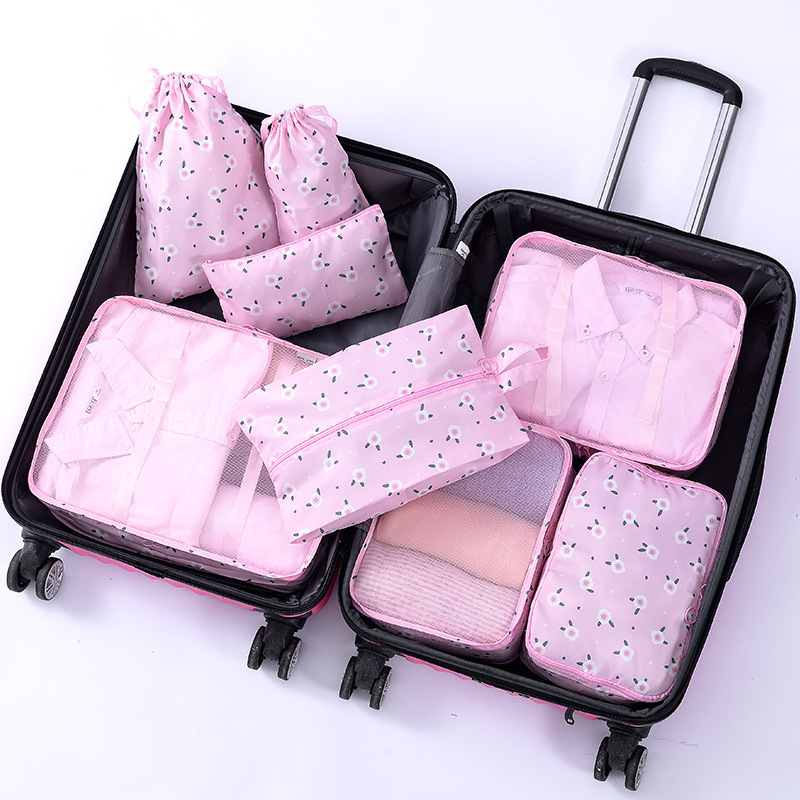 High Quality Oxford Cloth 8PCS/Set Travel Mesh Bag In Bag Luggage Organizer Packing Cosmetic Bag Cube Organiser for Clothing