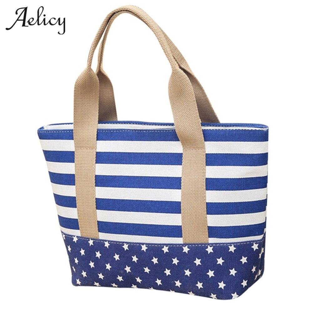 Canvas Shopper Bag Striped Rainbow Prints Tote Ladies Girls Shoulder Bag Casual Shopping Handbag Beach Bags