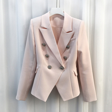 2017 Spring Autumn HIGH QUALITY Women Solid Color Glod Buttons Double Breated Notched Slim Blazer Feminino Runway Jacket Outwear