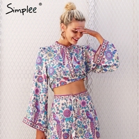 Simplee Boho Floral Print Blouse Skirt Women Tops Flare Sleeve Button Autumn Blouses 2017 Winter Causal