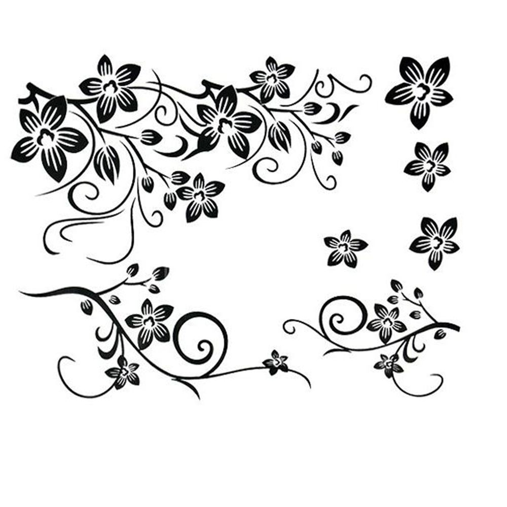 Pindia Black Flower Design Wall Sticker: Aliexpress.com : Buy LESUPERAY Beautiful Black Flowers