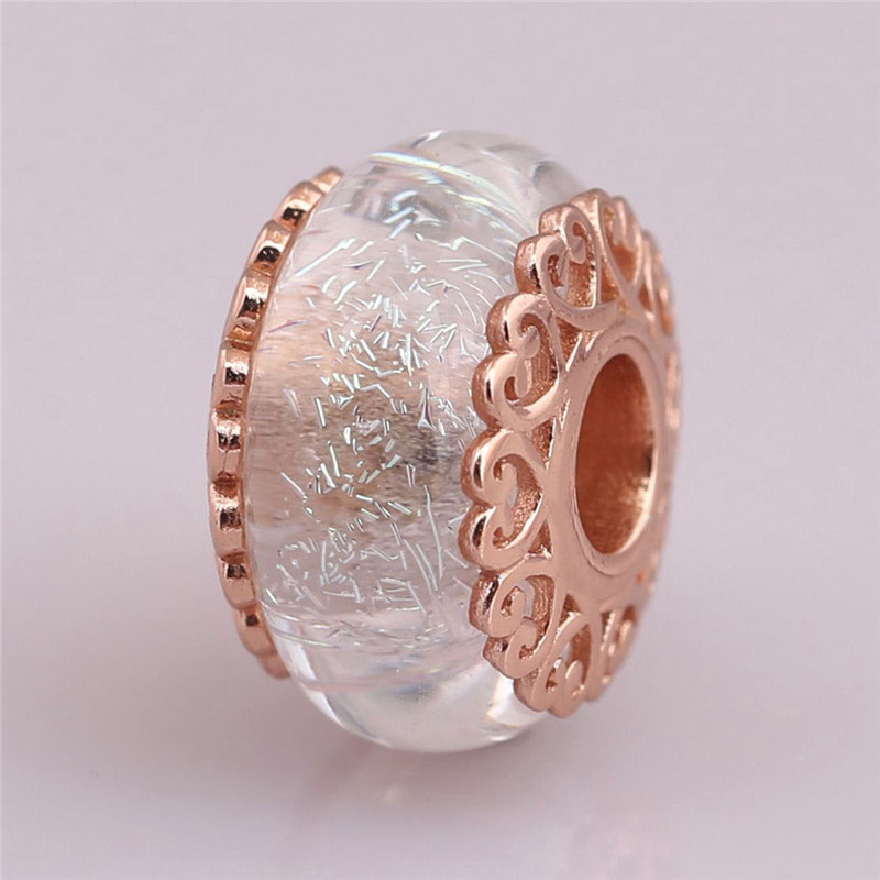 925 Sterling Silver Bead Rose Iridescent White Murano Glass Charm Fit Original Pandora Bracelet Bangle Women DIY Jewelry Gift in Beads from Jewelry Accessories