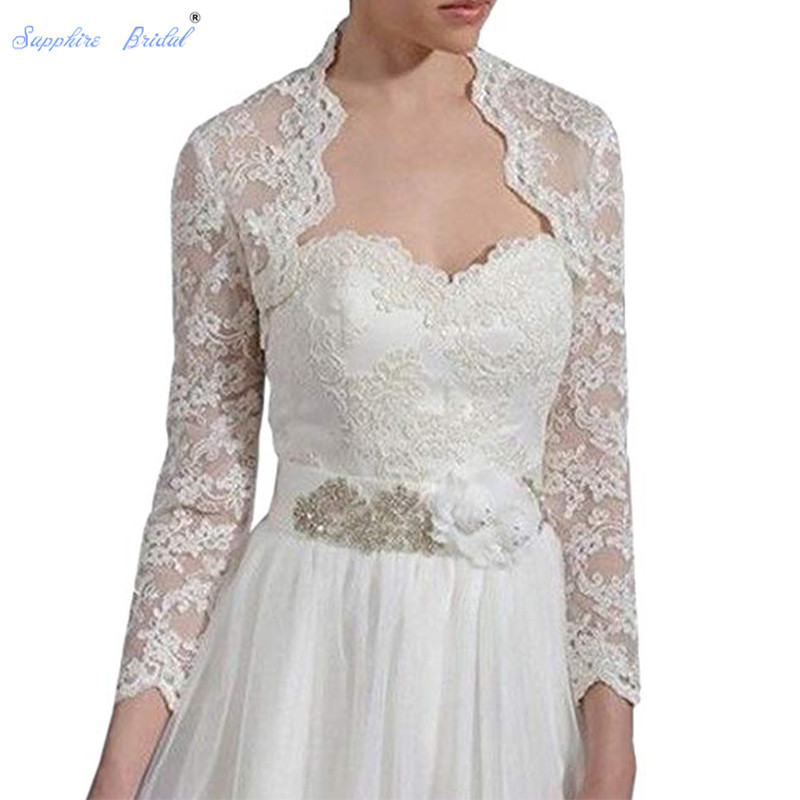 Sapphire Bridal Women's Lace Long Sleeve Backless Bolero Jacket Wedding Bridal Wraps