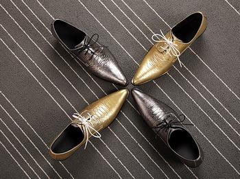 Pointed toes New Arrival Shoes Men Lace up Genuine Leather Oxfords Smart Casual Dress Shoes Height Icreasing Gold Snakskin Shoes