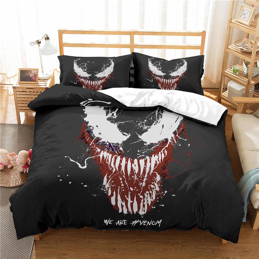 Marvel Venom 3D Bedding Set Kids Room Decor Duvet Covers Pillowcases Super Hero Venom Bedclothes Bed Linen Comforter Bedding Set