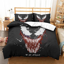 Marvel Venom 3D Bedding Set Kids Room Decor Duvet Covers Pillowcases Super Hero Bedclothes Bed Linen Comforter
