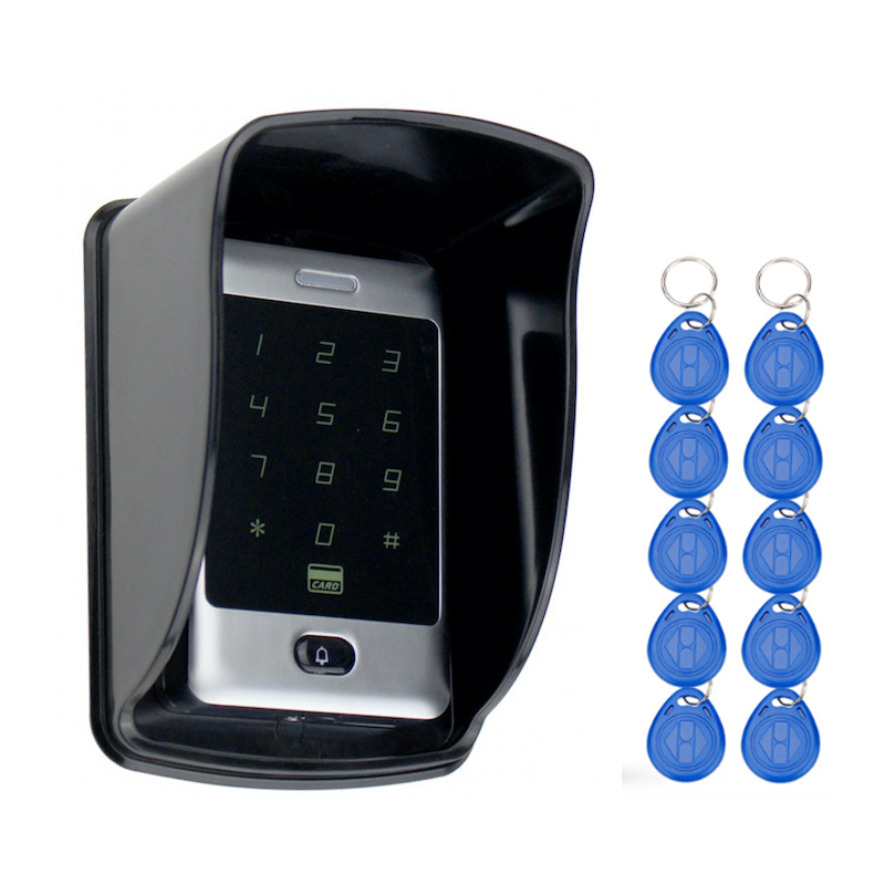 Sant alone RFID Access Control Touch Metal Keypad With Waterproof/Rainproof Cover 10 Keychains For Door Lock System 8000 Users rfid ip65 waterproof access control touch metal keypad standalone 125khz card reader for door access control system 8000 users