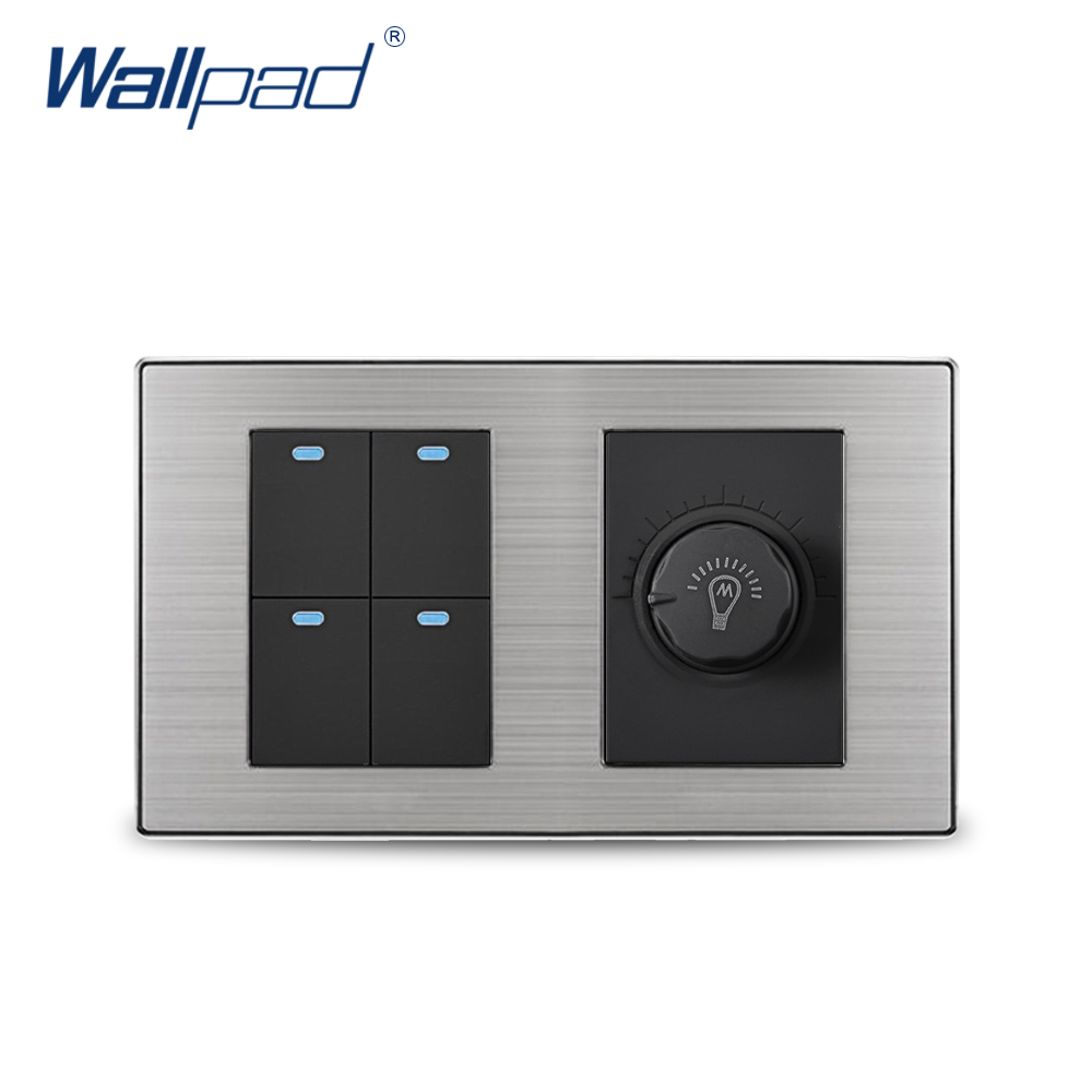 Wallpad Manufacturer 4 Gang 2 Way Switch With Dimmer Luxury Satin Metal Panel Wall Light Switch With LED Indicator 160*86mm цена и фото