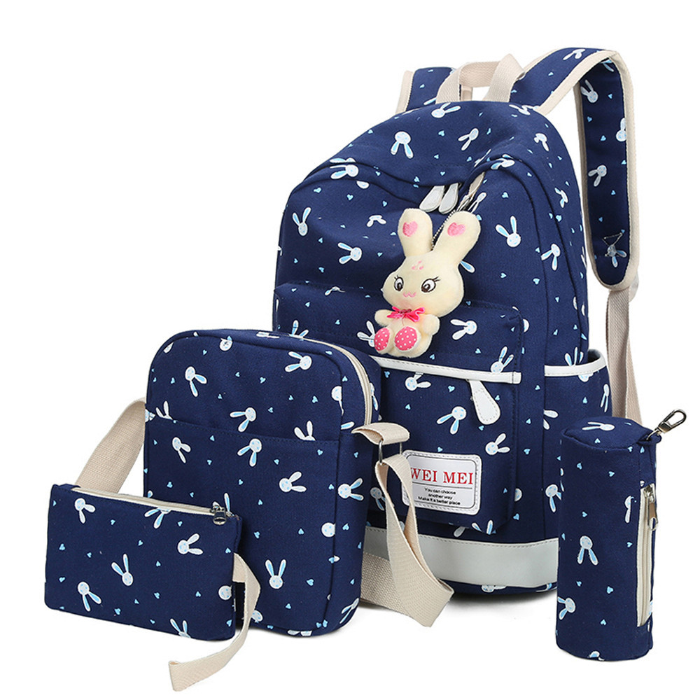 Backpacks School Bags for Teenage Girls 4 Sets Women Rabbit Animals Travel Backpack School Shoulder Bag Back Pack Mochila 12.37(China)