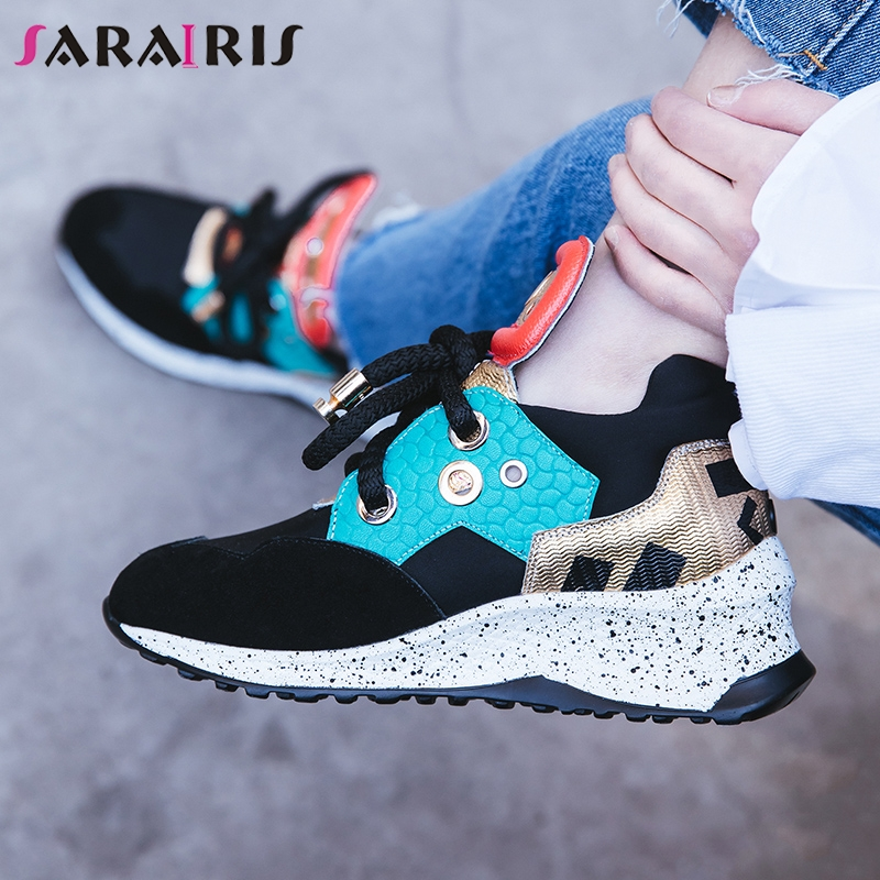 SARAIRIS Brand New Cow   Suede   Cow   Leather   Lace Up Flat Platform Shoes Woman Party Luxury Spring Autumn Flats Shoes Femal