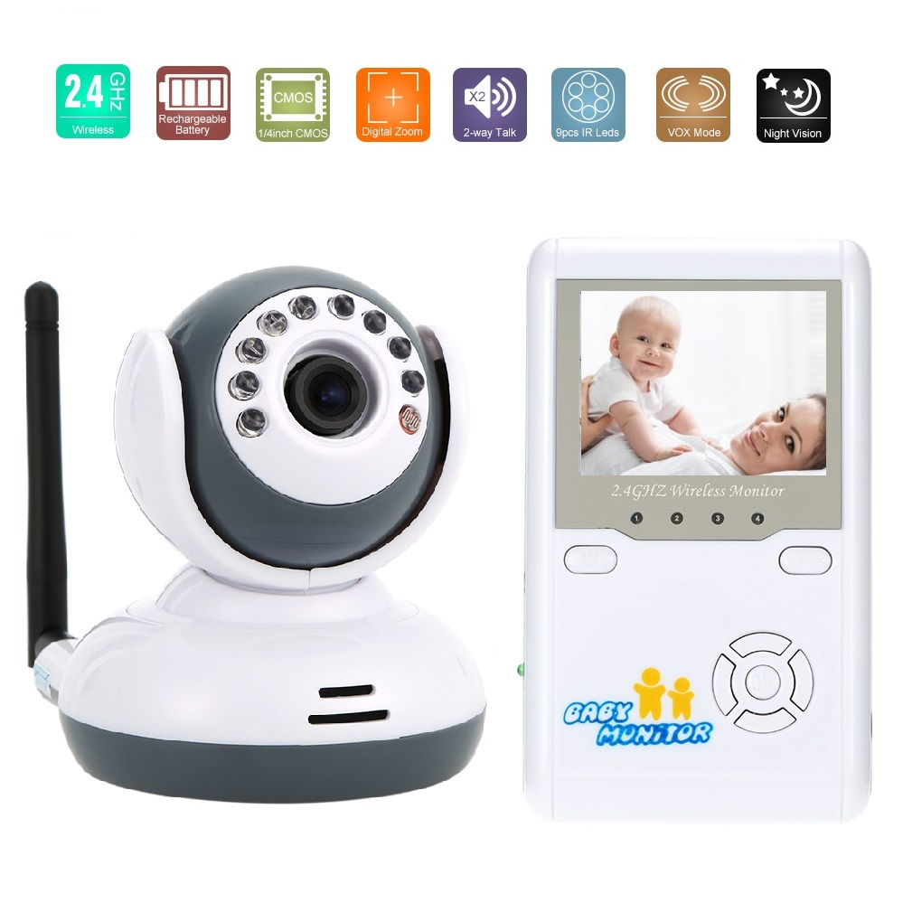 2.4inch video babysitter babymonitor IR Night Vision 2 way Talk Lullabies Zoom 4 CHs Rechargeable Battery nanny radio babysitter