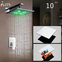 Hm LED Shower Set Wall Mounted Embedded Box 10 LED Shower Head Powered By Water Luxury