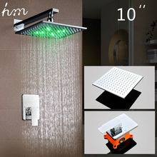 hm LED Shower Set Wall Mounted Embedded box 10LED Head Powered by Water Luxury Rainfall Saving Chrome