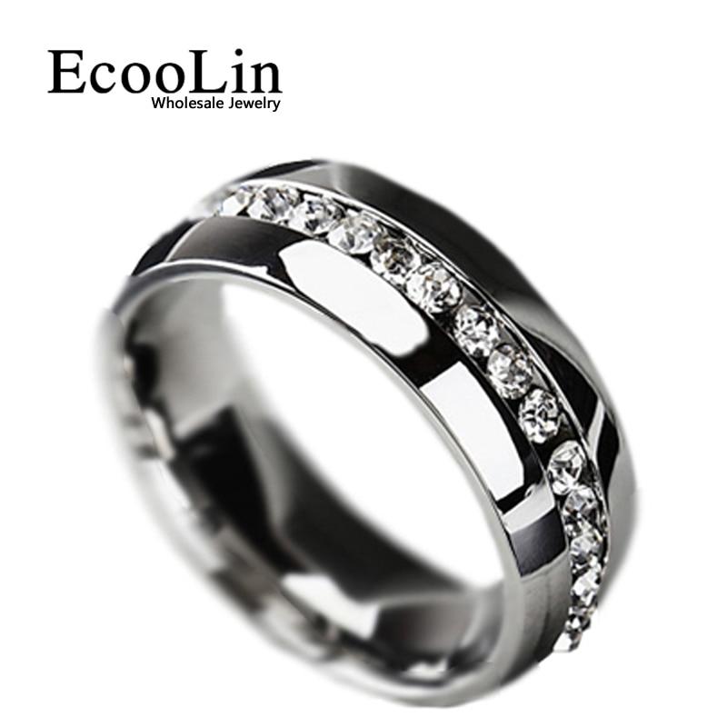Hot! clássico Mulheres Casamento Anel de Noivado Para A Mulher Zirconia Cúbico Eternidade Anéis de Aço Inoxidável Moda Jóias BK419 Dames
