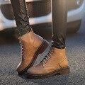 Moda mujeres otoño invierno costura mantener caliente marten boots brogue talón grueso tamaño de los estudiantes más 34-43 zapatos de inglaterra botines WM71