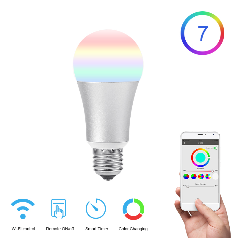 FUNRY WIFI Lamp Bulb Smart Home LED Bulb E27 5W Dimmable RGB Color Changing Lights APP Remote Control Light Bulb Work With Alexa in Smart Home Control from Home Improvement