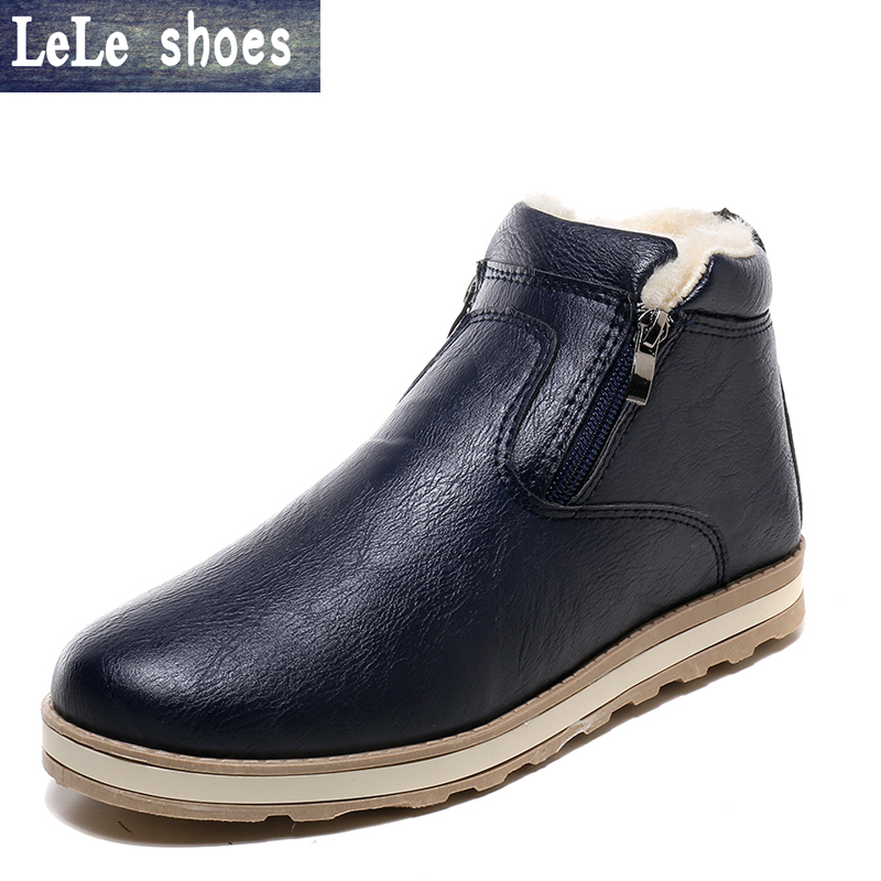 2016 New Hot Sales Winter Men Snow Ankle Boots Plush Velvet Warm Zipper Martin Short Boot High Top Platform Shoes Zapatos