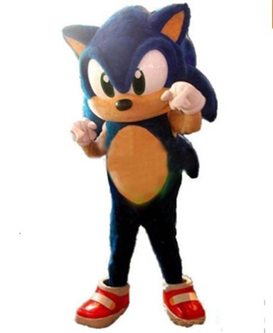 Newest Style the Hedgehog Mascot Costume Adult Size Blue the Hedgehog Mascotte Outfit Suit EMS free SW130