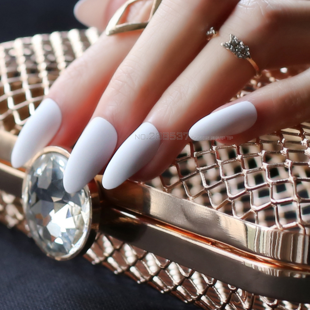 Pure colour New mountain peak Designs white Artificial nail Fashion ...