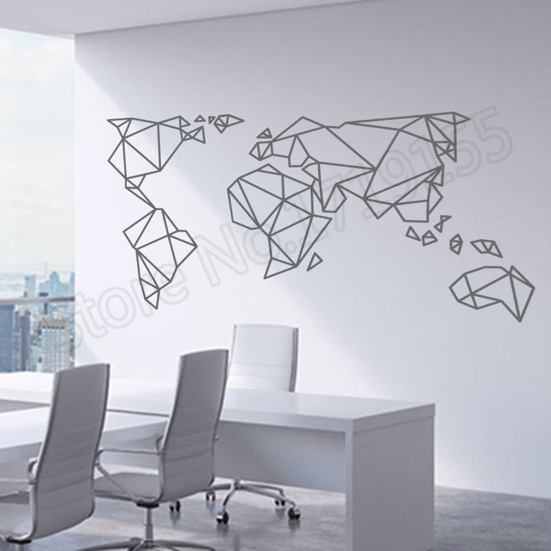 f9676bd0d Origami World Map Wall Sticker Home Decoration Art Countries Decals ...