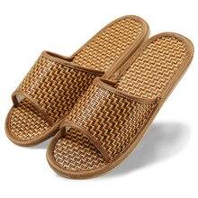 Hommes Femmes Chaussures Confort Naturel Bambou D'été Style Lin Amant Pantoufles Maison des Femmes À L'intérieur Tapis de Rotin Fond Chaussures Cool