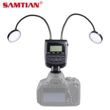 SAMTIAN elastyczny ML 2D 24 led makro Flash Speedlite wąż metalowy arbitralny wyświetlacz LCD do Canon Nikon Panasonic Olympus mi sony