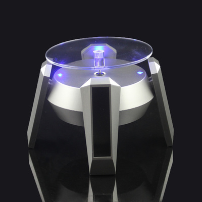 Automatic Solar Power Jewelry Watch Silver Showing Shelf 360 Degree Solar Rotating Nail Art Display Stand Turn Table LED Light