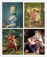 Livraison gratuite art mural décoration photos anges classiques garçon fille mignon animal peintures à l'huile impressions sur toile imprimé sur toile