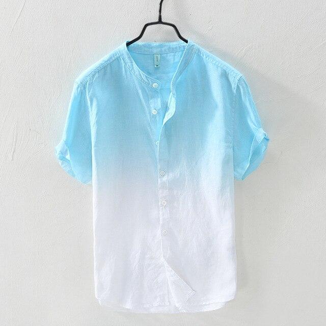CO 2018 Мужская двойной цвет градиента из чистого льна с коротким рукавом воротник рубашки и удобные дышащие футболки летом
