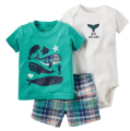 Retail kids bebes Baby Boys Girls summer Clothings Sets,caca Baby(Bodysuit+Short+Bodysuit)3pcs Set, Whale Patter