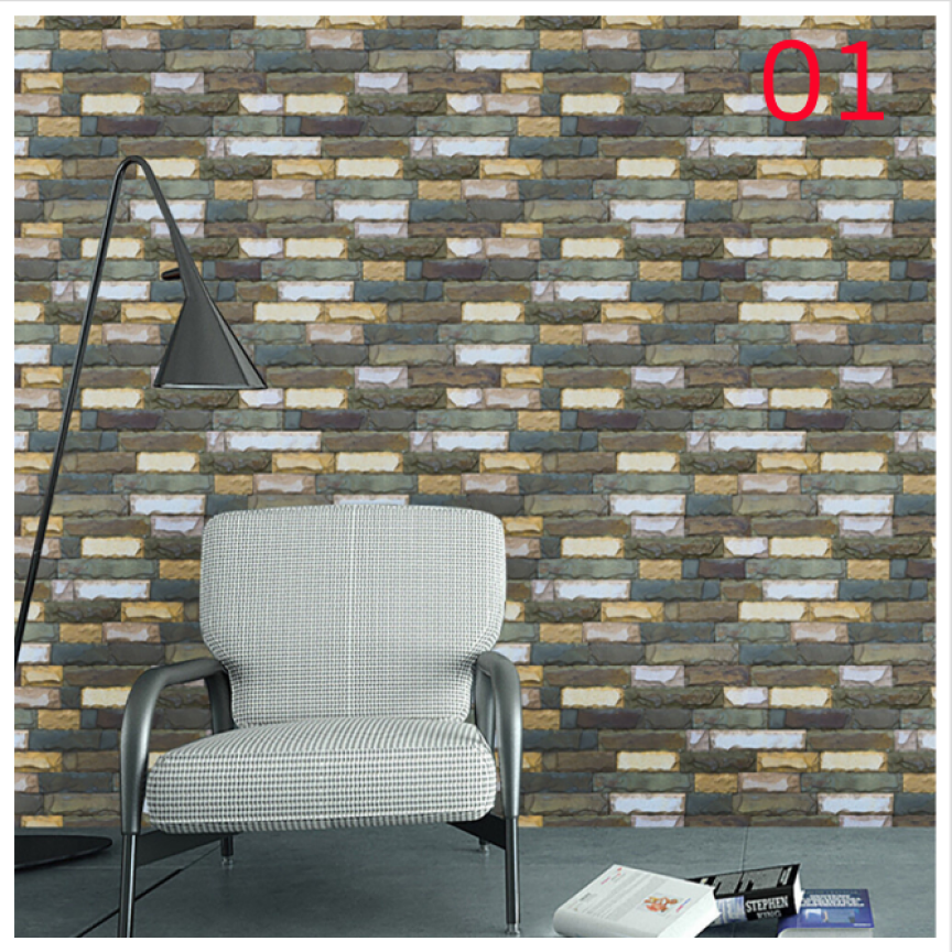 Home Decor 3D  Brick Stone Rustic Effect Self-adhesive Wall Sticker Home Decor wall sticker Home Deco mirror JU30