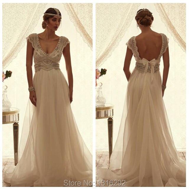 Aliexpress.com : Buy Wedding Dress 2015 Crystal Beaded Cap Sleeves ...