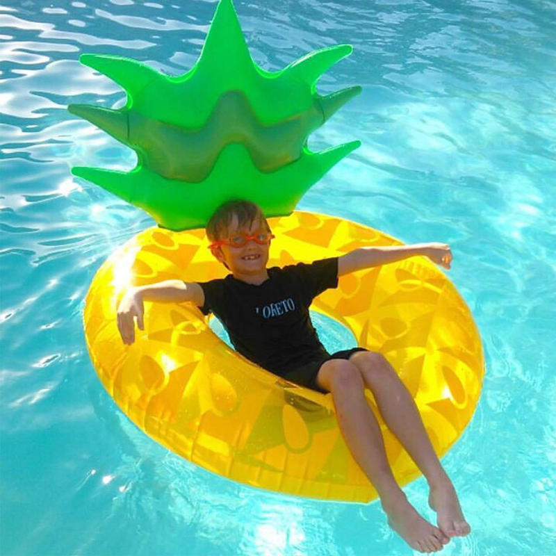 Image 3 - Big Yellow Inflatable Pineapple Swimming Laps Float Swimming Ring Floating Pool Water Party ToysSwimming Rings   -