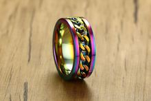 Многоцветные кольца из нержавеющей стали для мужчин классическое