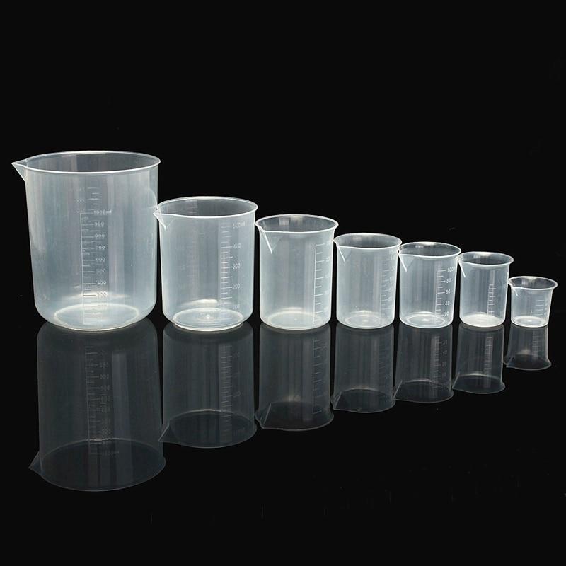 Kicute 50 100 150 250 500 1000ml Transparent Kitchen Laboratory Plastic Graduated Volumetric Beaker Container Measuring Cup Tool