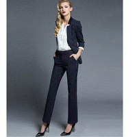 New Top Fashion Ms Striped Suit Fashionable Western Style Of Professional Jacket + Pants Formal Two piece Ol Work Handsome