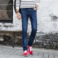 men's jeans dark blue paint straight slim jeans Skinny design Spring and Autumn New Mens Europe new arrival YF009
