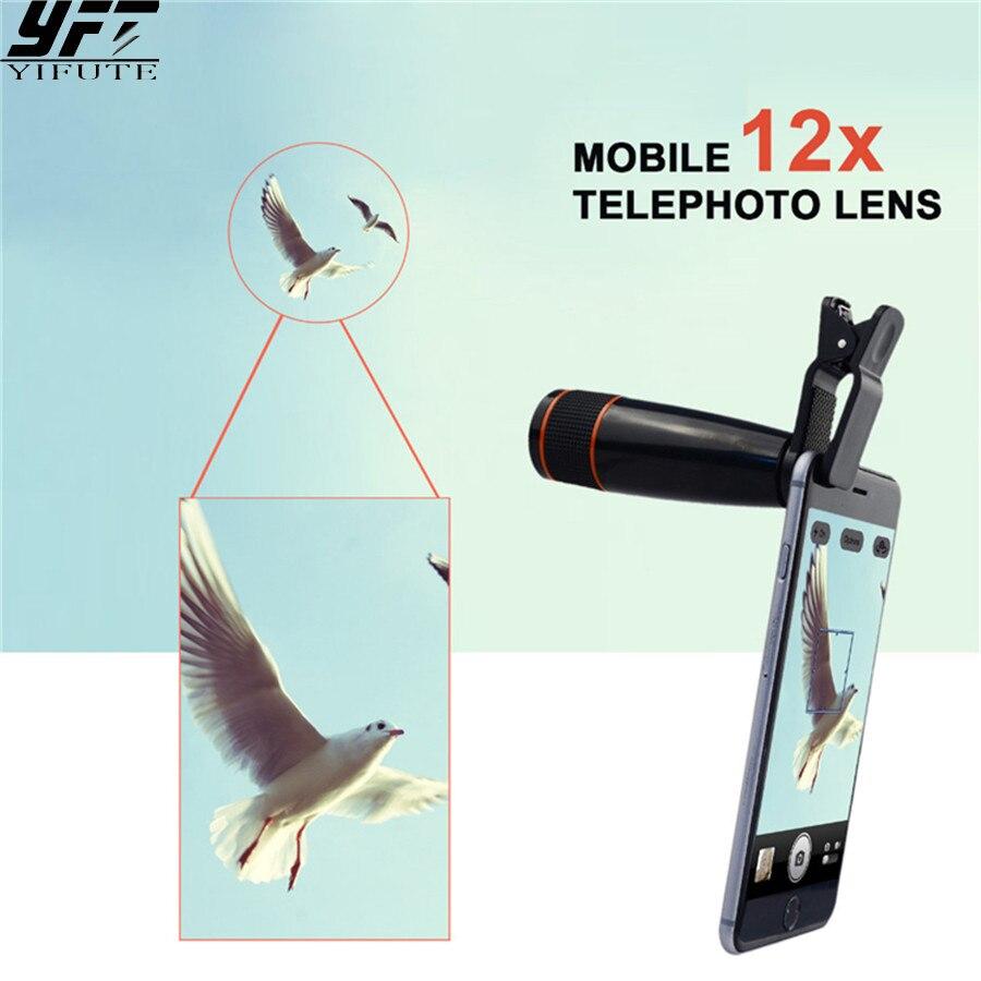 39ed11d248e4 Mobile Lentille de Téléphone Universel Clip Sur 12X Téléobjectif Zoom  Optique Télescope Lentilles Caméra Kit Pour Apple iPhones Samsung Huawei