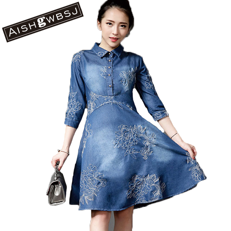 Fashion Embroidery Huge Size Women Denim Dress High Waist Turn Down Collar Half Sleeve Long Jean