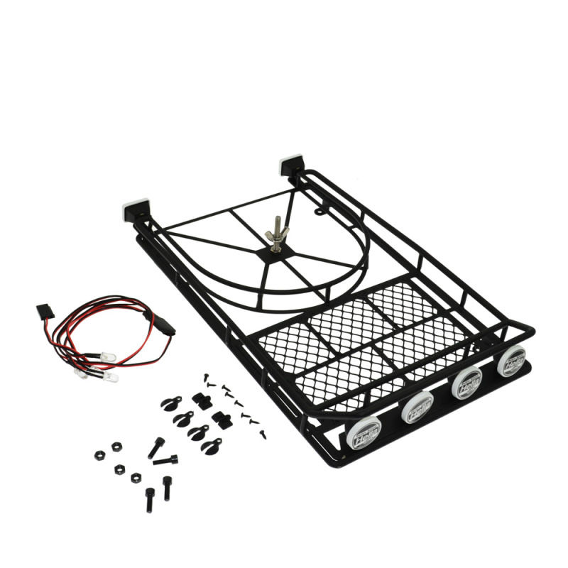1 Set 1:10 Roof Luggage Rack Cross Bar Cargo Luggage Carrier Racks with LED Light Bar for Axial SCX10 90046 D90