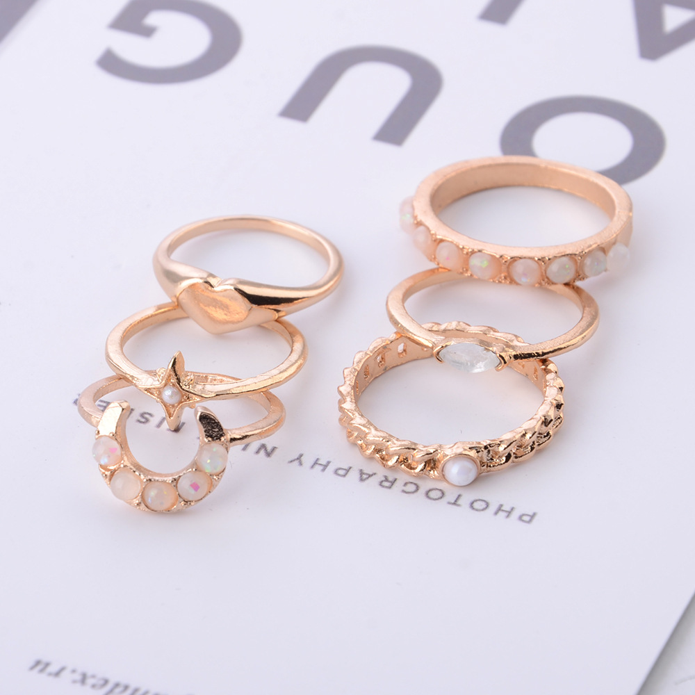 6 Pcs set Fashion Flower Midi Sets Gossip Moon Star Love Retro Crystal Opal Knuckle Rings for Women Jewellery in Rings from Jewelry Accessories