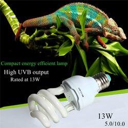 De emisor de calor luz ultravioleta bombilla E27 5,0 10,0 UVB 13 W Pet reptil resplandor de luz de la lámpara de bombilla de luz diurna para tortuga peces anfibios