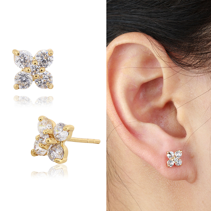 6 Colors Yellow Gold Plated Cute Clover Flower Zircon Cz