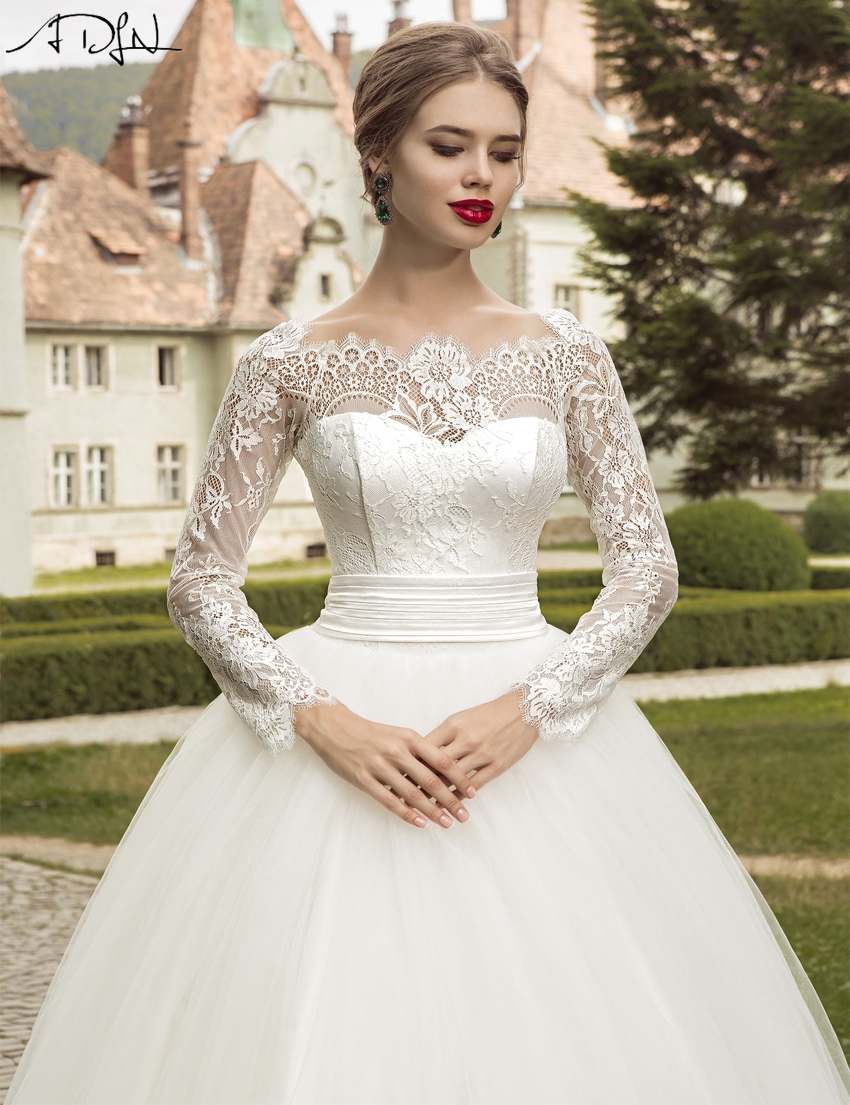 adln 2017 elegant long sleeve wedding dress ball gown